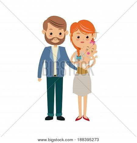 cute couple parents carrying her baby vector illustration
