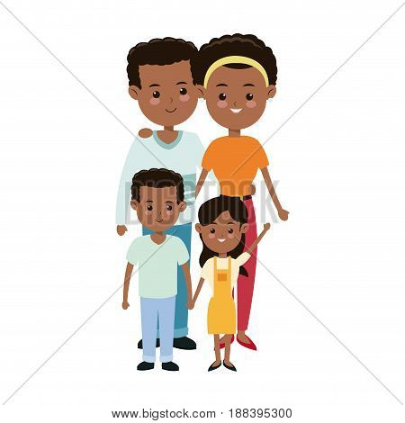 afro american couple parents with childrens family vector illustration