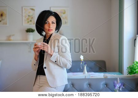 Portrait Of Beautiful  Business Lady Have A Coffe Breake
