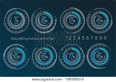 Futuristic digital percentage easy editing scale. Set of Infographics elements. Vector illustration.
