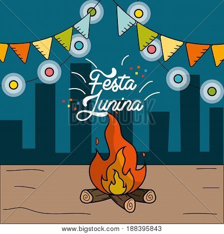 festa junina with wood fire and chain bulbs, vector illustration
