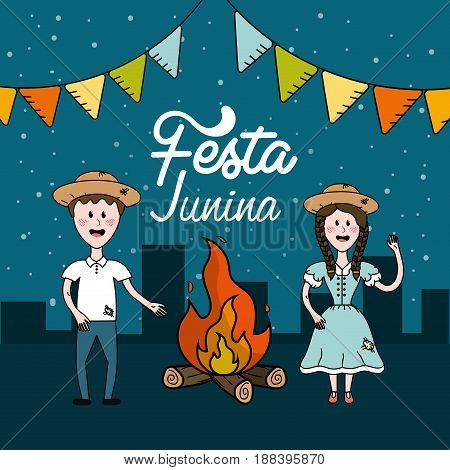festa junina with brazilian people and wood fire, vector illustration