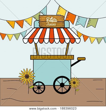 festa junina with flags party with fast food car, vector illustration