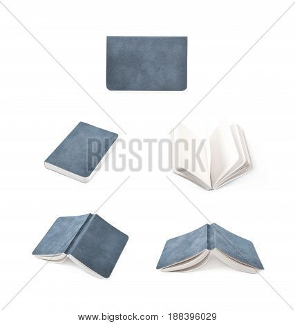 Paper notebook with a leather cover isolated over the white background, set of five different foreshortenings