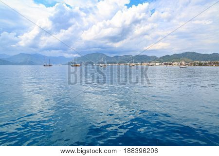 Beuatiful seascape of marmaris from seaport over mountains