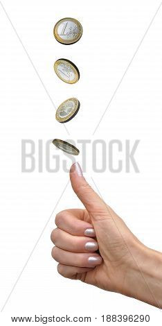 Female hand throws a coin in one euro as a lot on a white background