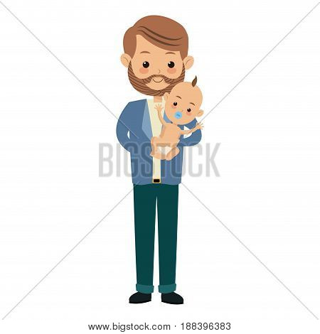 cute father holding her baby son image vector illustration