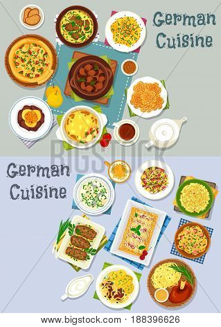 German cuisine lunch icon set. Vegetable meat stew with beer, vegetable sausage casserole, bacon cheese pie, fish and noodle soup, meat roll, cheese fruit and sauerkraut salad, cherry strudel, cookie