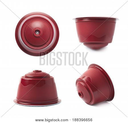 Coffee machine capsule isolated over the white background, set collection of four different foreshortenings