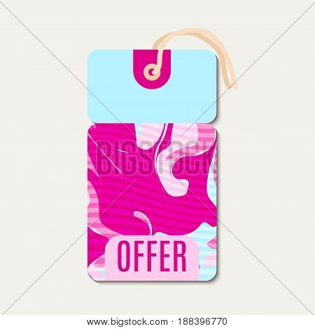 Pink Bright tags with shabbi chick, glitch design. Suitable for sales, offers for discounts, shops, packaging