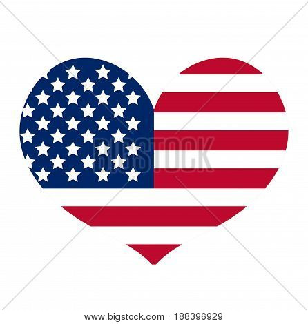 Heart with the flag of america icon, flat style. Isolated on white background. Vector illustration