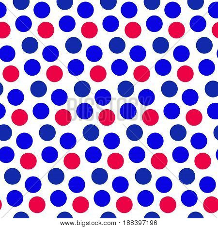 Independence Day of America seamless pattern. July 4th an endless background. USA national holiday repeating texture with polka dots. Vector illustration