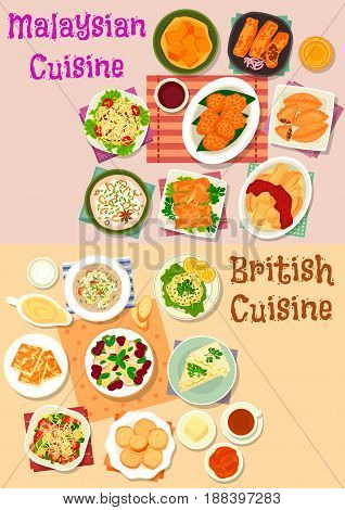 Malaysian and british cuisine icon set. Vegetable salad with meat and bean, seafood risotto, meat and shrimp spring roll, fish soup, curry pie, cucumber, cheese toast, chilli veggies, fruit dessert