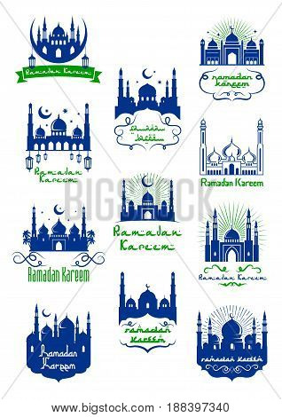 Ramadan Kareem icon for muslim holy month celebration. Islam mosque with crescent moon and star, adorned by arabic ornament and ribbon banner. Mubarak Kareem greeting card design
