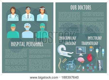 Medical personnel and doctor of oncology, traumatology, infectology and endocrinology hospital poster template with pill, heart, brain, blood, bone x-ray, spine and MRI. Healthcare staff themes design