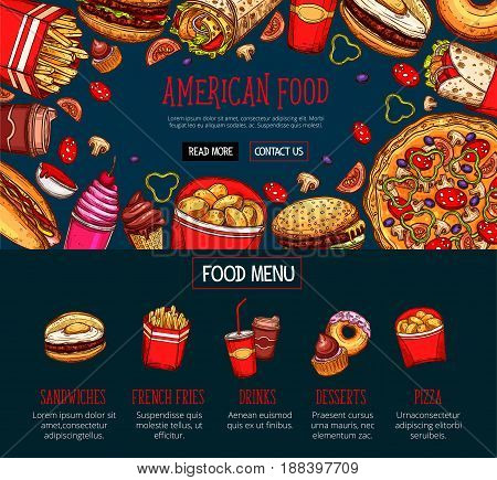 Fast food menu with takeaway dishes and drink. Hamburger, hot dog, french fries, pizza, coffee, donut, sweet soda, ice cream cone, burrito sandwich sketches for fast food restaurant web banner design