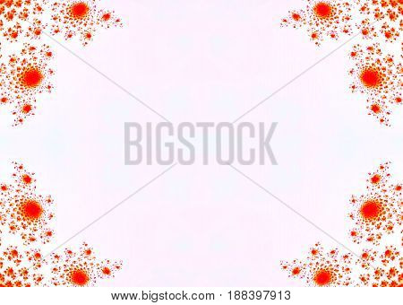 Red floral decorations in corners of blank mirror symmetry background