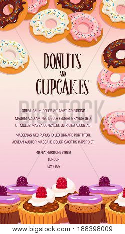 Cupcake and donut pastry dessert banner. Bakery shop or cafe poster edged by cake, cupcake and donut topped with chocolate, vanilla and fruit glaze, berry and sprinkles for dessert menu flyer design
