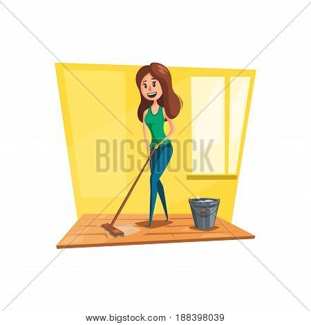 Woman cleaning floor cartoon icon. Young housewife character washing wooden floor with mop and bucket in the living room. Housework, house cleaning, household chores concept design