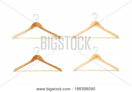 Single white wooden hanger isolated over the white background, set of four different foreshortenings