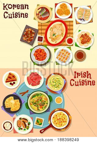 Korean and irish cuisine icon set. Grilled meat, pork sausage, kimchi cabbage, rice and potato pancake, meat vegetable stew, chicken soup, beef roll, fish in soy sauce, fried tofu, cherry pie