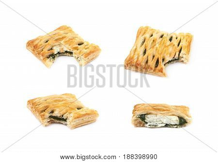 Spinach and cheese bun pastry with a bite taken off it, composition isolated over the white background, set of four different foreshortenings