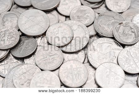Close-up stock image of United States Coins
