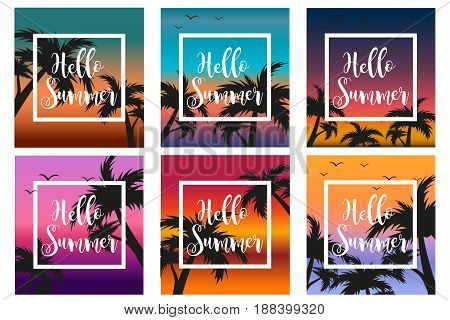 Hello summer set the template for the poster in a white frame on a background of sunset and palm trees. Beach concept collection, vacation, vacation by the sea. Vector illustration