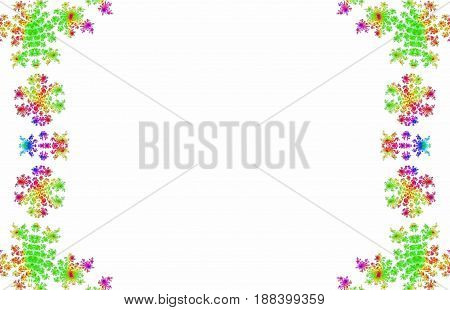 Lacy fancy colorful rainbow colored symmetrical frame on white copy space background