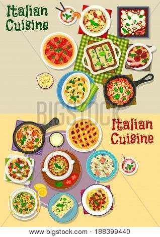 Italian cuisine pasta dishes icon set. Pasta with meat, vegetable sauce, fish and spinach, meatball spaghetti, lasagna with cheese and bacon, tomato and lentil soup, strawberry and plum fruit pie