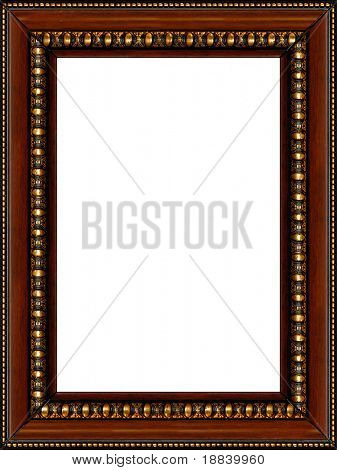 Antique wooden grungy background photo frame with golden pattern isolated vertical border