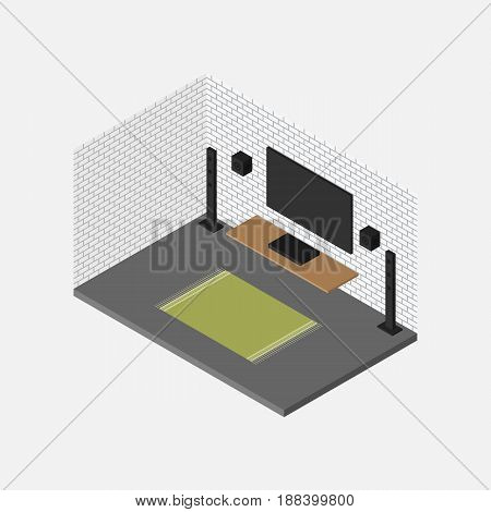 Living room isometric interior design concept included home theater set and furniture vector illustration