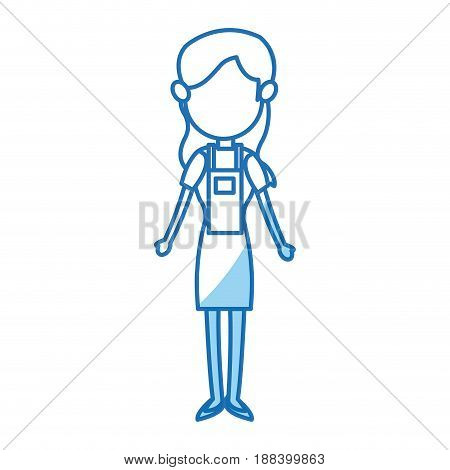 portrait of pretty teenage girl. daughter, sister standing. vector illustration