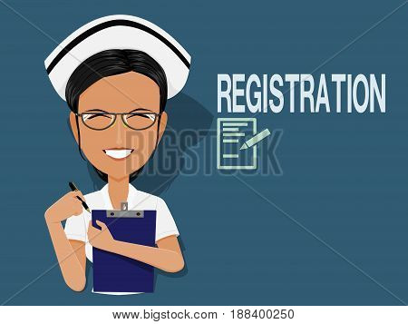 Nurse with writing pad on blue background