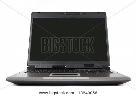 High-end laptop computer close-up isolated on white background