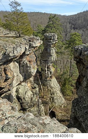 Rocks Pinnacle in the Wilds of Kings Bluff in Ozark National Forest in Arkansas