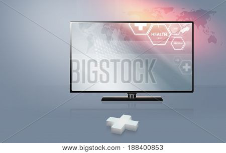 3D plus sign with modern flat screen TV with health car background.Clipping path included. 3d illustration