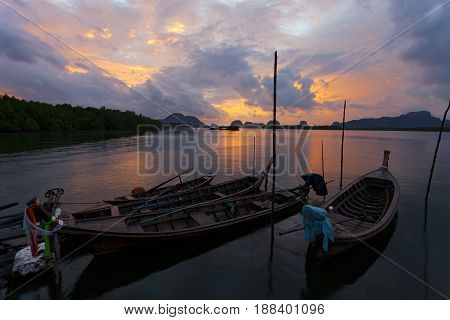 Beautiful sunrise landscape view of Samchong-tai in Phang-NgaThailand