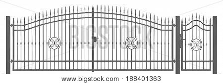 Forged decorative pedestrian and transportation mansion gate vintage entrance detail isolated horizontal large detailed dark grey silhouette closeup wrought iron fleur-de-lis lattice