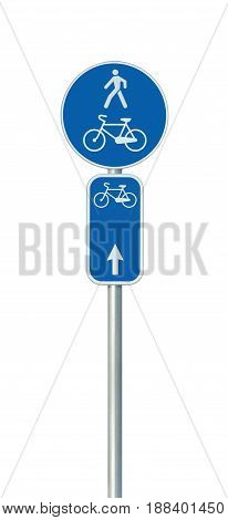 Bicycle route number cycling and pedestrian lane road sign large detailed isolated vertical closeup European Eurovelo cycle bike network concept white straight direction arrow blue painted metal marker metallic signpost pole post