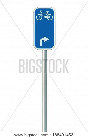 Bicycle route number road sign large detailed isolated vertical closeup European Eurovelo cycle bike lane network cycling concept white right direction arrow blue painted metal marker metallic signpost pole post
