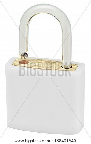 White Isolated Padlock Macro Closeup Large Detailed Vertical Studio Shot Open Lock Protection Security Concept Golden Brass