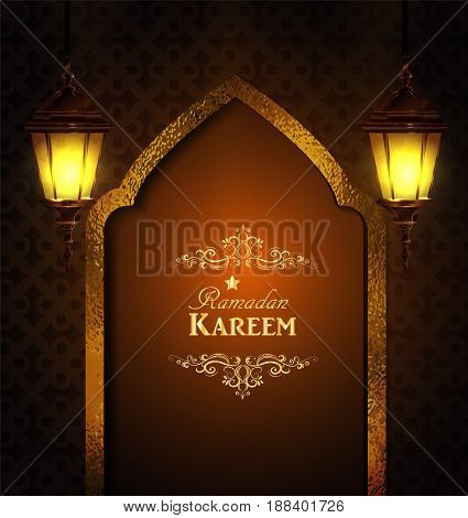 Islamic design mosque door and mmoroccan lanterns lanterns greeting background Ramadan Kareem vector