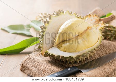 Fresh Durian On Sack, King Of Fruit