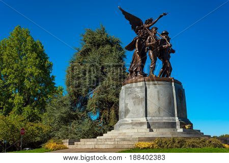 OLYMPIA WA - SEPTEMBER 13 2016: The Winged Victory Monument erected in 1938 to honor those who served in World War I stands on the state capitol campus.