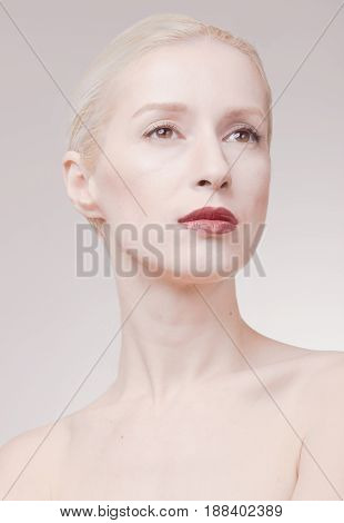 One Young Woman, Pale Skin, White Gray Hair, Retouch Portrait