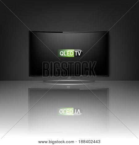 QLED TV. realistic mockup tv. HD Vector illustration