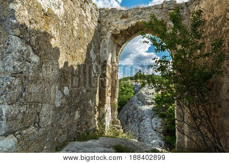 Gate on the Tapshan Plateau of Cave City in Cherkez-Kermen Valley, Crimea