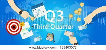 third quarter business report target corporate financial result Q3 vector