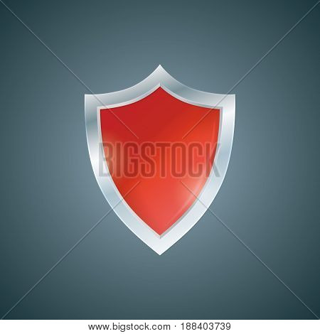 Vector red shield. Defense icon. Protection concept